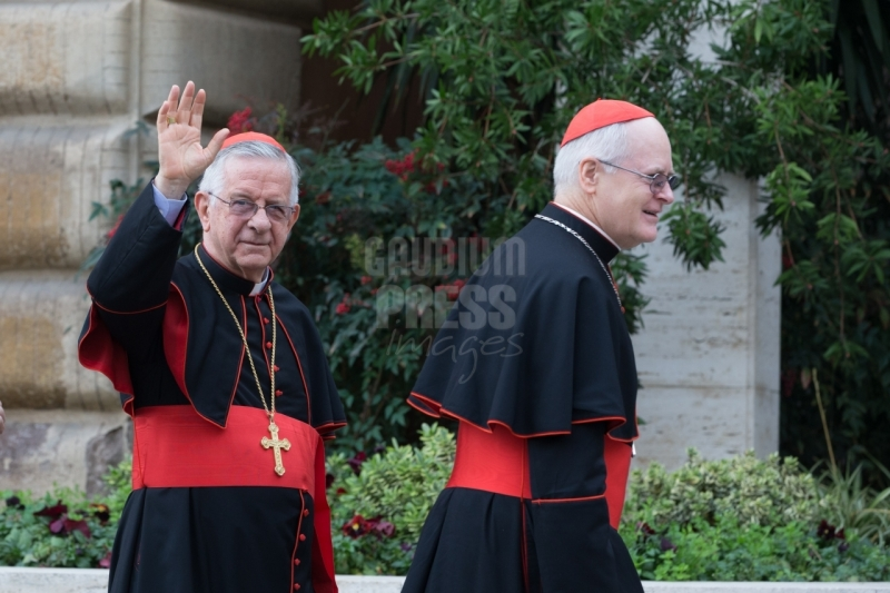 Vatican City : cardinal Majella Agnelo and Cardinal Odilo Scherer - VII general congregation of Cardinals before the election of Pope Francis. Photo: Gustavo Kralj/Gaudiumpress