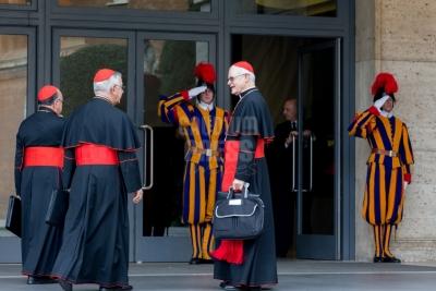 Vatican City : brazilian cardinals - Scherer, Majella agnelo, damasceno -  VII general congregation of Cardinals before the election of Pope Francis. Photo: Gustavo Kralj/Gaudiumpress