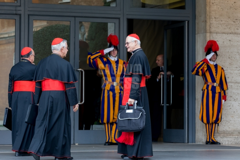 Vatican City : brazilian cardinals - Scherer, Majella agnelo, damasceno -  VII general congregation of Cardinals before the election of Pope Francis. Photo: Gustavo Kralj/Gaudiumpress
