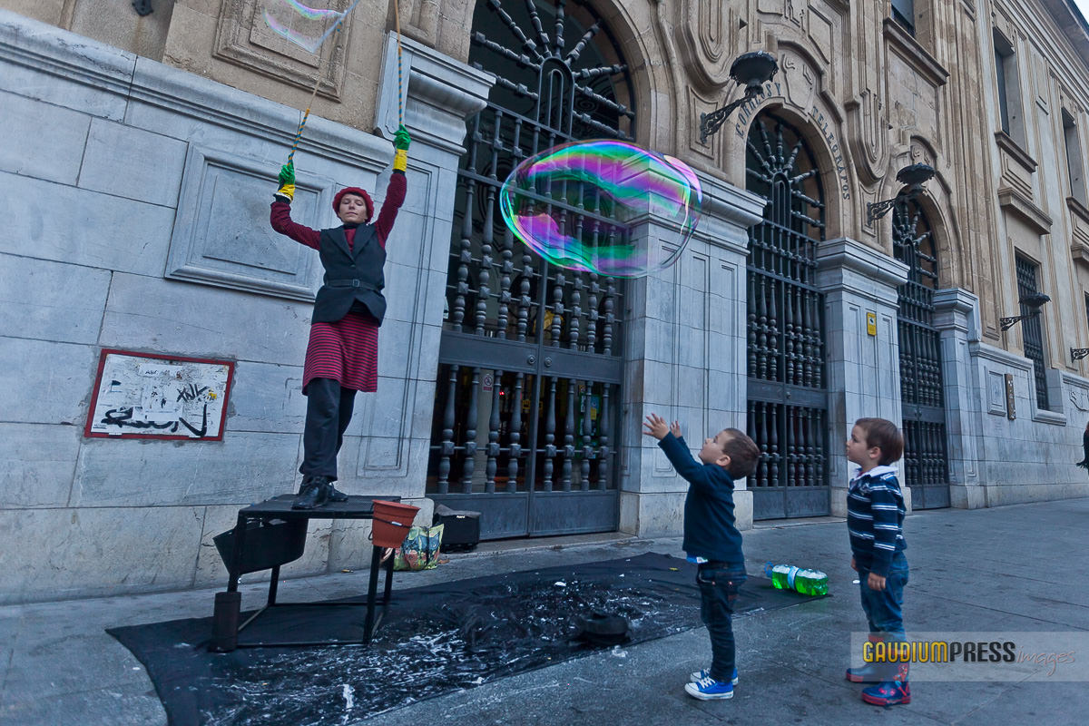 children and soap bubble